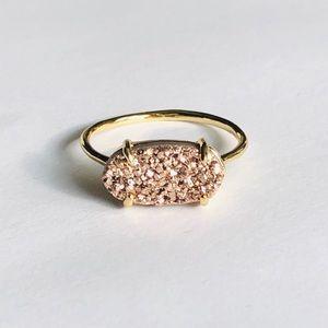 Petite Rose Gold Drusy & 18k Gold Ring Size 8